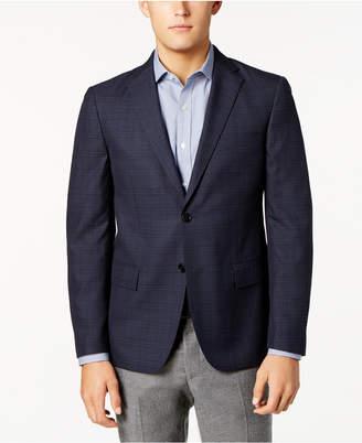 Ryan Seacrest Distinction Men's Slim-Fit Blue & Gray Windowpane Sport Coat, Created for Macy's