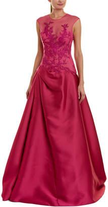 Monique Lhuillier Silk-Blend Gown