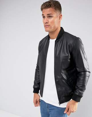 Asos Leather Bomber Jacket In Black