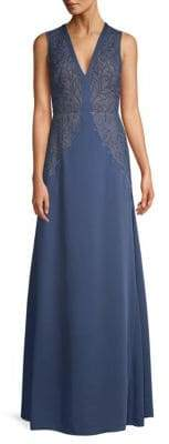 BCBGMAXAZRIA Embroidered Lace A-Line Gown