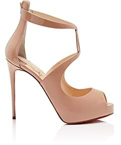 Christian Louboutin Women's Rosie Patent Leather Platform Pumps-Nude