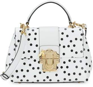 Dolce & Gabbana Lucia Polka-Dot Top-Handle Leather Satchel