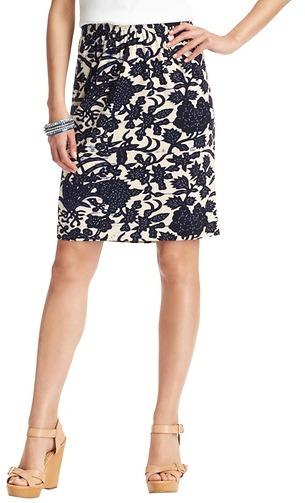 LOFT Floral Vine Print Elastic Waist Pencil Skirt