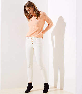 LOFT Corduroy Button Fly Skinny Pants in Marisa Fit