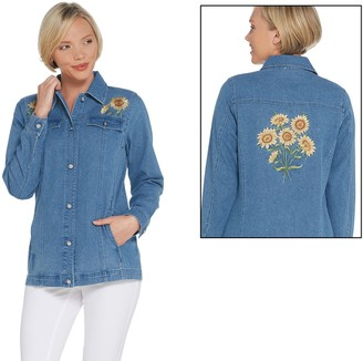 Factory Quacker Embroidered Button Front Denim Jacket with Pockets