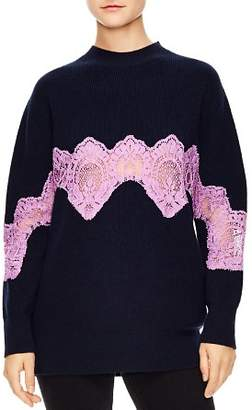 Sandro Mystère Sheer Lace-Inset Sweater