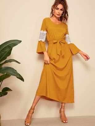 Shein Contrast Lace Elastic Waist Belted Longline Dress