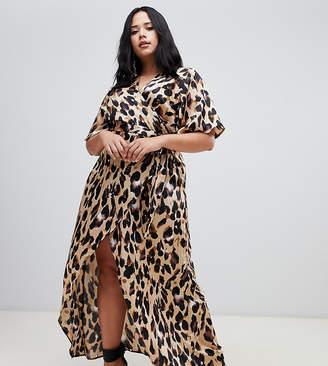 John Zack Plus wrap front cap sleeve maxi dress with thigh split in leopard print
