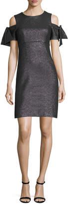 Milly Tie-Sleeve Cold-Shoulder Stretch-Lurex® Cocktail Minidress