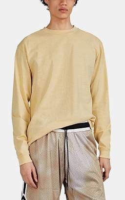 John Elliott Men's Oversized Washed Cotton Long-Sleeve T-Shirt - Yellow