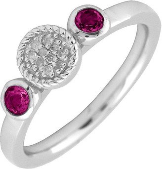 Simply Stacks Sterling & Double Round Garnet Diamond Ring