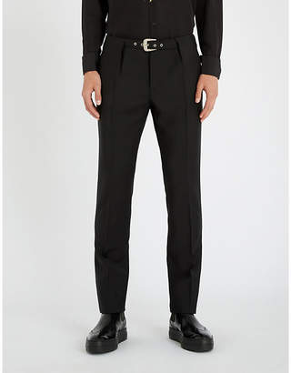 Givenchy Belted straight-let mohair and wool-blend trousers