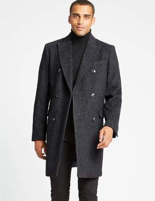Marks and Spencer Wool Blend Twill Peak Collar Overcoat