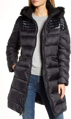 Rachel Roy Faux Fur Detail Water Resistant Puffer Coat