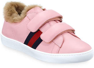 Gucci New Ace Web-Trim Leather Sneakers w/ Faux Fur Lining, Kids