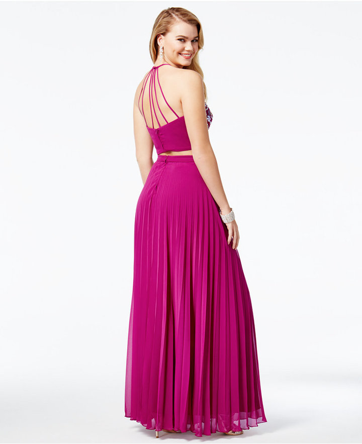 B. Darlin Juniors' 2-Pc. Sequined Pleated Gown