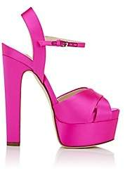 Brian Atwood WOMEN'S MADISON SATIN PLATFORM SANDALS - PINK SIZE 5.5