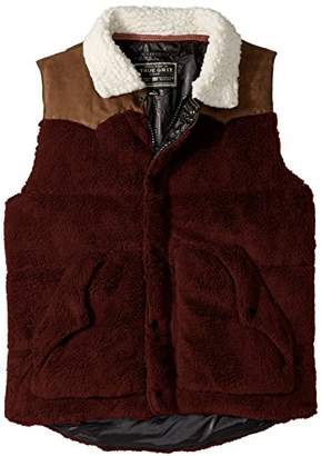 True Grit Men's Pebble Pile Vest with Faux Sherpa and Suede