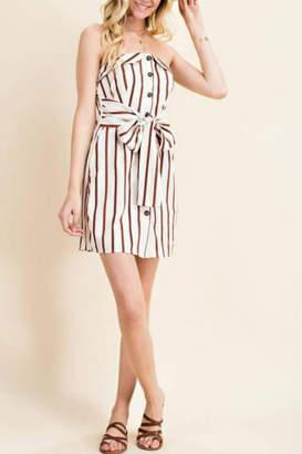 Main Strip Strapless Button-Down Dress