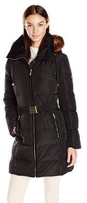 Calvin Klein Women's Down Belted Puffer Long Coat with Faux Fur Trimmed Hood