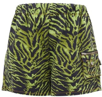 Ganni Tiger Print High Rise Denim Shorts - Womens - Green