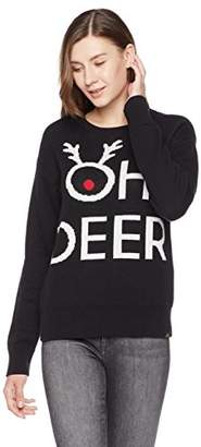 Oh Deer Ugly Fairisle Unisex Adult Jacquard Crewneck Long Sleeve Christmas Sweater XXL Black/White / Red