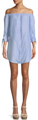 Cupcakes And Cashmere Ciara Off-the-Shoulder Tie-Sleeve Shirtdress