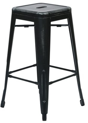 """Office Star OSP Designs by Products Bristow 26"""" Antique Metal Barstool, Antique Black, 4-Pack"""