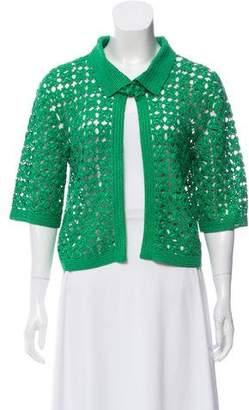 Oscar de la Renta Crocheted Short Sleeve Cardigan
