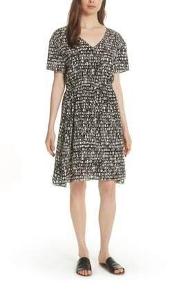 Eileen Fisher Print Silk A-Line Dress