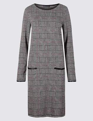 Marks and Spencer Checked Long Sleeve Shift Dress