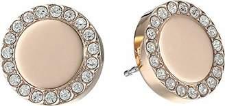 "Fossil Heritage Links"" Rose Gold Glitz Metal Stud Earrings"