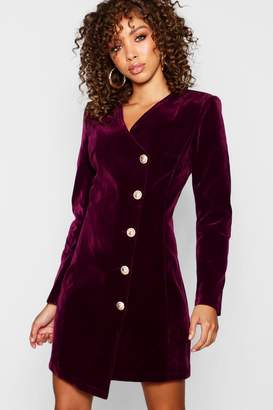 boohoo Velvet Military Button Asymmetric Hem Blazer Dress