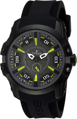 Titan Men's 'HTSE Self Energizing' Quartz Stainless Steel and Silicone Watch, Color: (Model: 1630NP02)