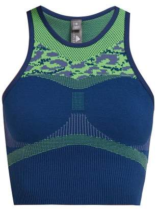 adidas by Stella McCartney Primeknit Performance Racerback Cropped Top - Womens - Blue Multi