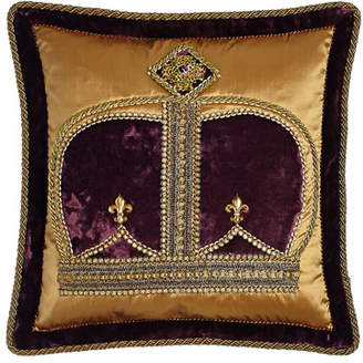 "Dian Austin Couture Home Royal Court Crown Pillow, 18""Sq."