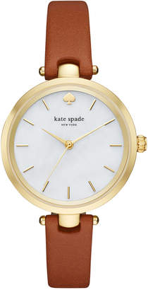 Kate Spade Women Holland Luggage Leather Strap Watch 34mm KSW1156