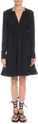 Proenza Schouler V-Neck Long-Sleeve Horseshoe-Waist Shift Mini Dress