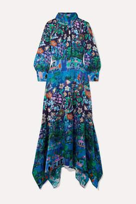 Peter Pilotto Asymmetric Printed Silk-blend Cloqué Midi Dress - Blue