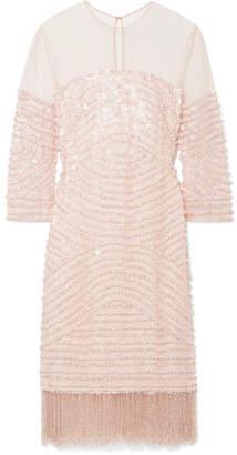 Naeem Khan Embellished Tulle Mini Dress - Pastel pink