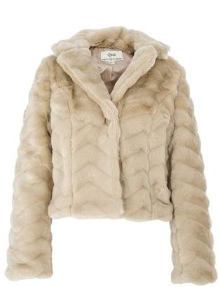 Quiz Champagne Fur One Button Jacket