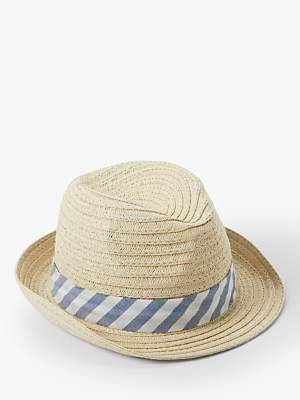 bc79efd2 John Lewis & Partners Baby's Straw Trilby Woven Hat, Natural