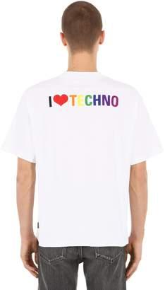 Balenciaga I Love Techno Embroidered Cotton T-Shirt