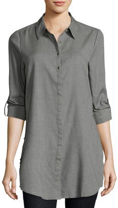 Neiman Marcus Roll-Tab Side-Slit Blouse, Gray $69 thestylecure.com