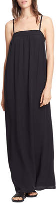 Vince Embroidered Silk Dress, Black
