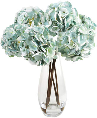 Creative Displays Hydrangea Clusters In Tall Glass Vase