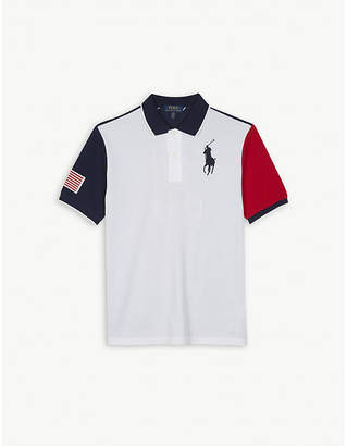 Ralph Lauren Logo colour-block cotton polo shirt S-XL