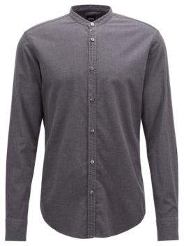 BOSS Hugo Slim-fit collarless shirt in flannel cotton XL Open Grey