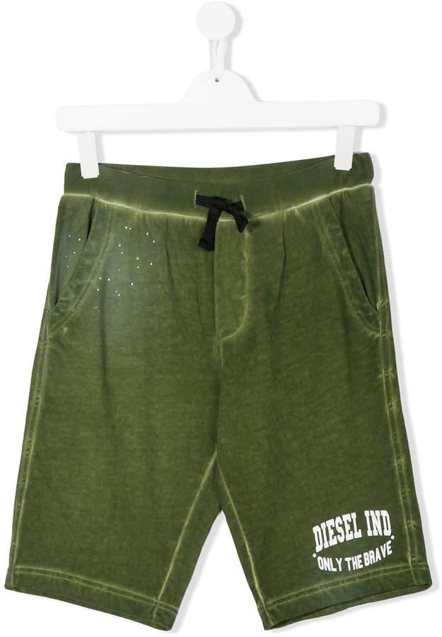 faded logo print shorts