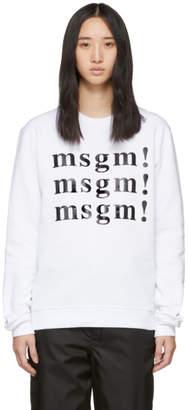 MSGM SSENSE Exclusive White Sweatshirt